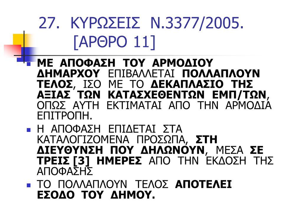 27. ΚΥΡΩΣΕΙΣ Ν.3377/2005. [ΑΡΘΡΟ 11]